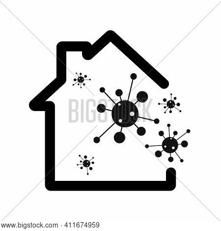 House Coronavirus Icon. Stay Safe,stay Inside Home. Let's Stay Home Icon. Vector Illustration. Save