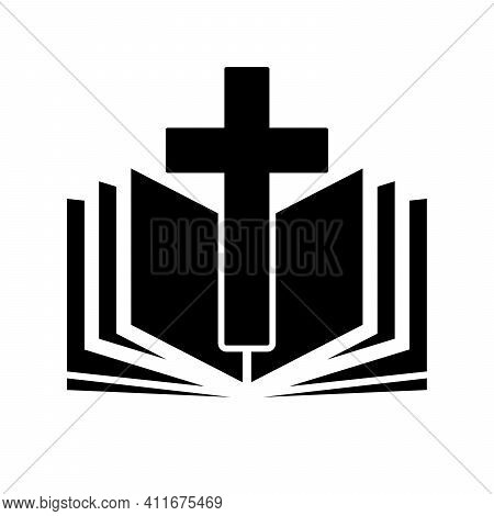Church Logo. Bible With Christian Cross. Abstract Religion Symbol. Vector Illustration.