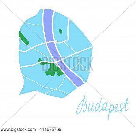 Cartoon Colored Flat Map Of The Center Of Budapest. The Land Is Blue. White Mail Streets. Funny Cute