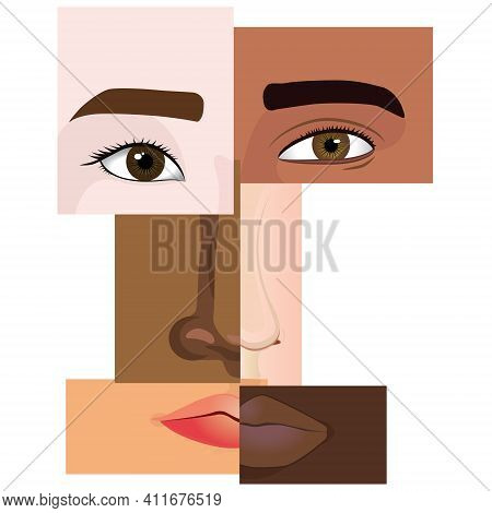 Anti Racism Concept. Collage Of Multiracial People,forming A Human Face.