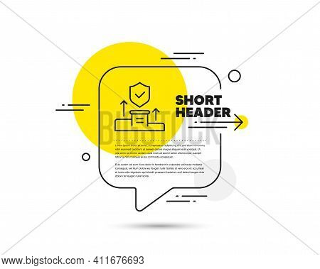 Security Agency Line Icon. Speech Bubble Vector Concept. Cyber Defence Sign. Private Protection Symb