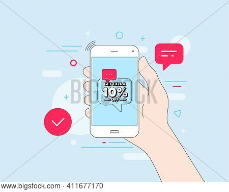 Get Extra 10 Percent Off Sale. Mobile Phone With Offer Message. Discount Offer Price Sign. Special O