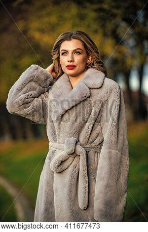 Fur Boutique. Sexy Woman Red Lips Wear Fur Coat. Businesswoman In Fur Coat. Simple And Warm. Glamoro