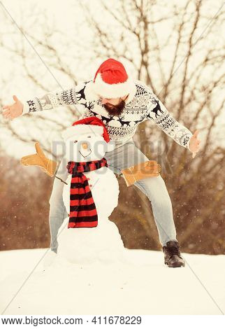 Guy Happy Face Snowy Nature Background. Winter Games. Winter Activity. Fun And Entertainment. Winter