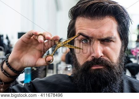 Just Fabulous Hair. Barber Master Cut Hair With Scissors. Mature Hipster With Beard At Hairdresser.
