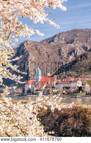 Durnstein Village During Spring Time With Danube River In Wachau, Austria