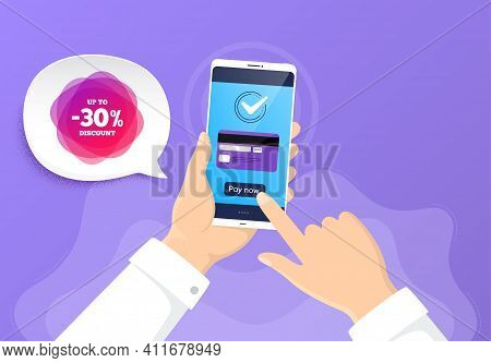 Up To 30 Percent Discount Off Banner. Pay By Credit Card From Phone. Sale Sticker Shape. Coupon Labe