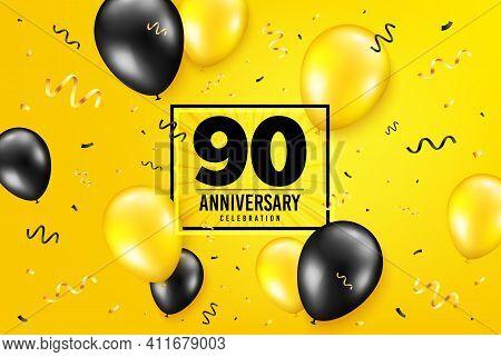 90 Years Anniversary. Anniversary Birthday Balloon Confetti Background. Ninety Years Celebrating Ico