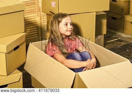 Apartment For Family. Excited About New House. Girl Child Play Box. Move Out Concept. Prepare For Mo