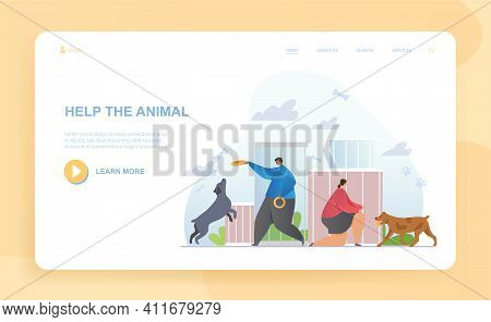 Male And Female Characters Are Taking Care Of Dogs In Shelter. Visitors Came To Play With Animals Si
