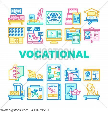 Vocational School Collection Icons Set Vector Illustration