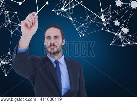 Network of connections over businessman writing on invisible screen against blue background. global networking and business technology concept