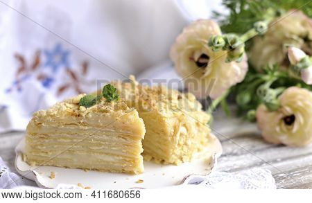 Classic Napoleon Cake. Traditional Millefeuille Dessert With Puff Pastry And Custard, Russian Cuisin