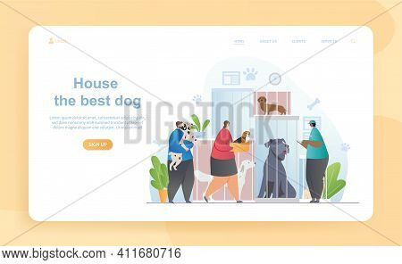 Male And Female Characters Are Adopting Dogs In Shelter. Visitors Came To Take Home Dogs Sitting In