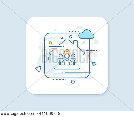 Engineering Team Line Icon. Abstract Vector Button. Engineer Or Architect Group Sign. Construction H