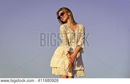 Emotional Girl. Happy Girl White Dress Feel Free. Summer Party. Sunny Day. Carefree Girl. Freedom. I