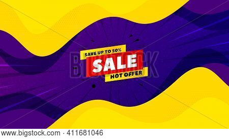 Sale 50 Percent Off Banner. Fluid Liquid Background With Offer Message. Discount Sticker Shape. Hot