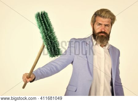 Feeling Confident. Resource Management. Man Hold Broom. Business And Home. Unemployment And Business