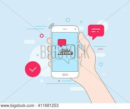Super Action Symbol. Mobile Phone With Offer Message. Special Offer Price Sign. Advertising Discount