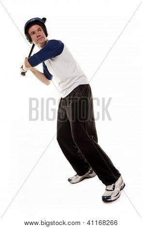 Baseball or softball Player Isolated on White