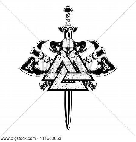 Vector Drawing. Sacred Viking Symbols. Horned Helmet, Sword, And Battle Axe. Celtic Warrior's Weapon