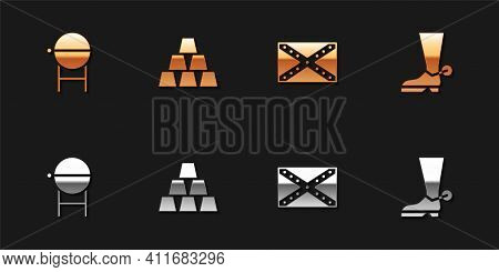 Set Barbecue Grill, Gold Bars, Flag Confederate And Cowboy Boot Icon. Vector