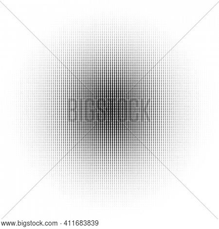 Halftone circle made of black squares on white background, abstract gradient illustration,