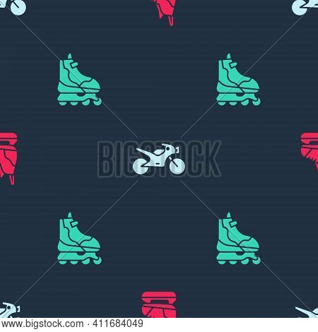 Set Skates, Motorcycle And Roller Skate On Seamless Pattern. Vector