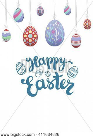 Happy easter text with decorated easter eggs on white background. easter greetings concept digitally generated image.