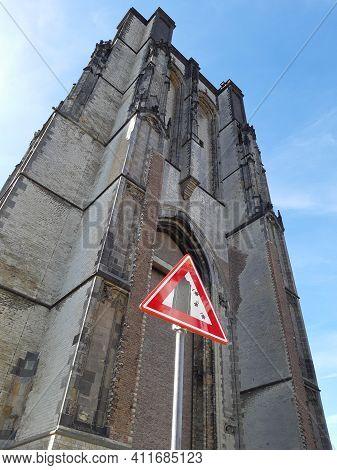 Zeirikzee, Netherlands, September 2018: Vertical Shot Of Dikke Toren In Zierikzee, Netherlands. Also