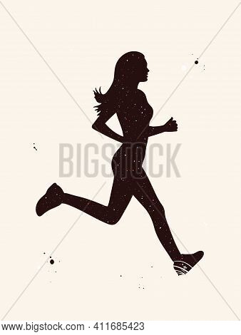 Jogging Girl. Running Woman Abstract Silhouette. Night Starry Sky