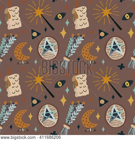 Vector Illustration Of Witchcraft Symbols Moon Magic Wand And Pentacle Seamless Pattern. On A Brown
