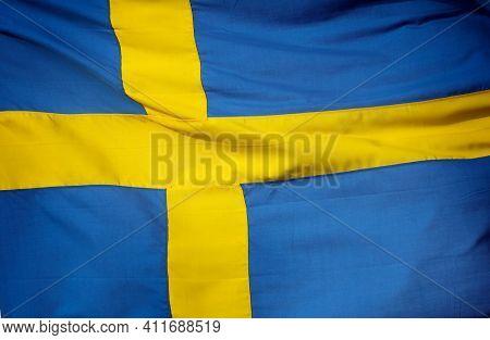 Swedish national flag, close up
