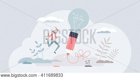 Creative Idea Writing As Innovative Lightbulb On Pencil Tiny Person Concept