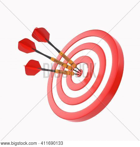 Three Darts Hitting A Red Target On The Center Isolated On White Background. 3d Render Illustration