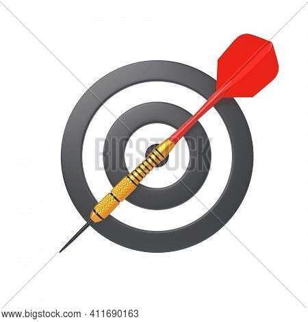 Dart And Target Isolated On White Background. Minimal Concept. 3d Render Illustration