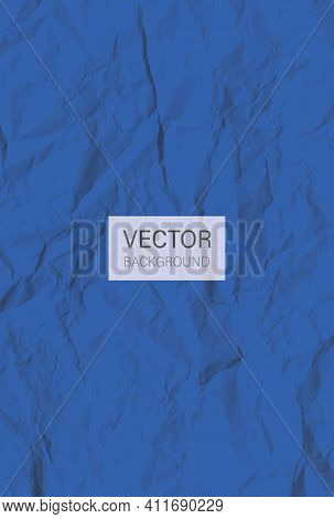 Blue Crumpled Paper. Colored Wrinkled Paper Sheet. Crumpled Texture Effect. Vector Background
