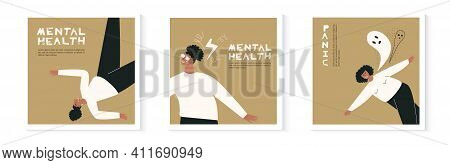 Set Of Young Black Depressed Girl Illustration Card. Bundle Of African Woman With Confused Minds Ill