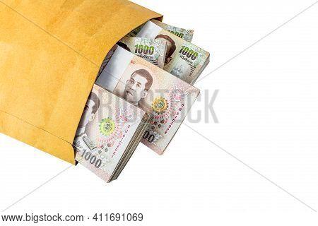 Money Banknote Thai Baht In Envelope Paper Brown Bag, Corrupt Money Or Corruption Concept, Paper Env