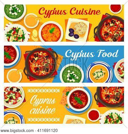 Cyprus Cuisine Vector Baked Eggplant Salad, Cucumber Cream Soup With Feta And Lemon Chicken Soup Avg