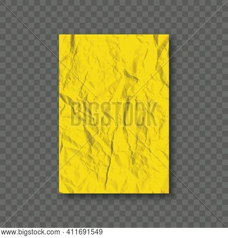 Yellow Creased Paper Sheet On Transparent Background. Colored Crumpled Paper. Crumpled Texture Effec
