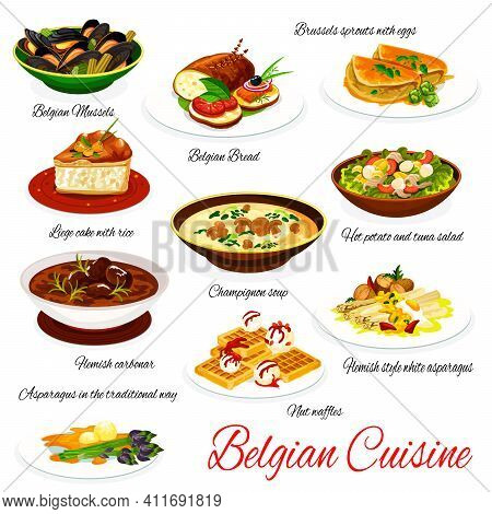Belgian Cuisine Vector Menu Meals Mussels, Bread And Brussels Sprouts With Eggs, Liege Cake With Ric