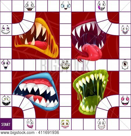 Children Board Game Or Puzzle Vector Template With Halloween Monster Mouths And Faces. Dice Boardgam