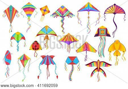 Kite Paper Toys Cartoon Vector Of Flying Wind Toys For Summer Children Games And Outdoor Activity. K