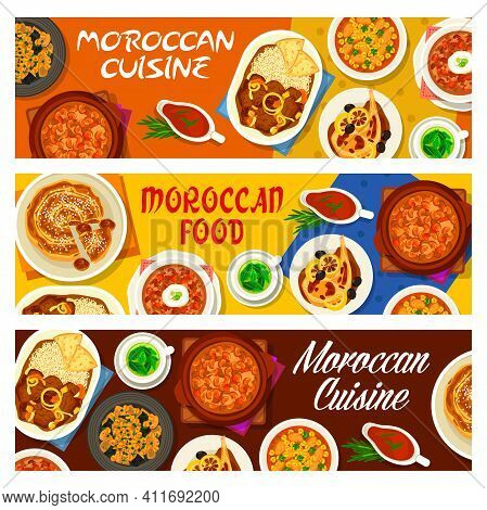 Moroccan Cuisine Restaurant Meals Banners. Lamb Stew With Dates, Fried Chicken With Preserved Lemon