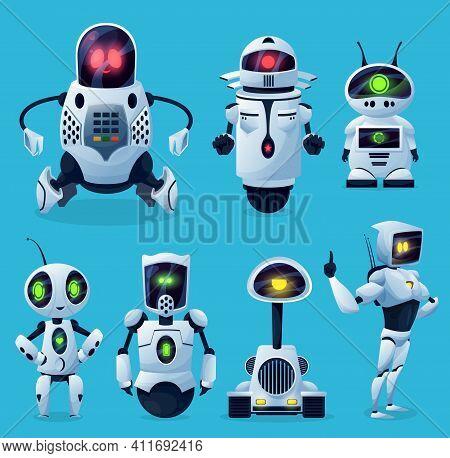 Robots, Cartoon Ai Chatbots And Bots, Vector Kid Toy Characters. Android Robots And Future Chatbots