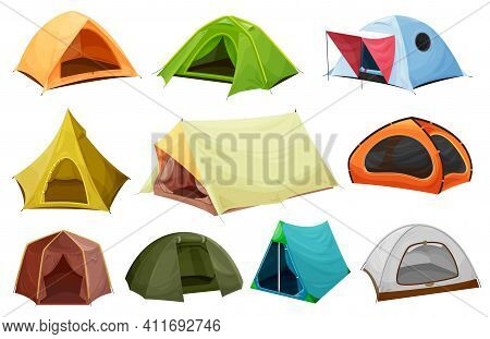 Camping Tent Isolated Vector Icons Of Tourist Equipment, Outdoor Adventure And Travel Design. Campsi