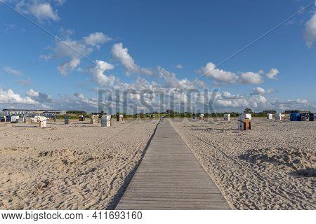 Sandy Beach With Beach Baskets In Harlesiel