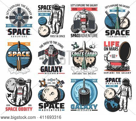 Space Vector Icons. Astronaut In Galaxy, Rocket In Outer Cosmos, Shuttle Expedition, Exploration Or