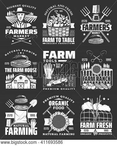Organic Farm Vegetables, Farmer Market Products Icons Set. Farm House, Gardening Tools And Ranch Veg